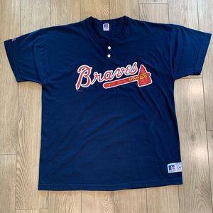 Atlanta Braves Henley Shirt (Jersey Like) - XL